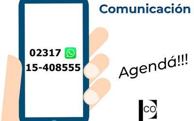 Nueva vía de comunicación-solo whatsApp-COPBA Dto VII