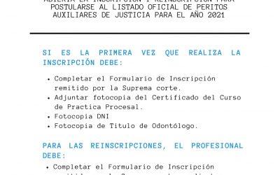 Abierta la inscripción y re-inscripción para postularse al listado oficial de Peritos Auxiliares de Justicia para el año 2021