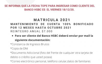 Convenio HSBC ingreso cliente hasta 18/12/2020.